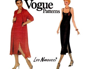 LEO NARDUCCI Dress and Jacket Pattern 70s Vogue American Designer Sewing Pattern 2160 Vintage Couture Fashion Size 12 Bust 34 inches