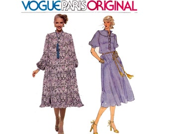 1970s EMANUEL UNGARO Boho Dress Pattern Vogue Paris Original 1876 Vintage Sewing Pattern Size 12 Bust 34 inches