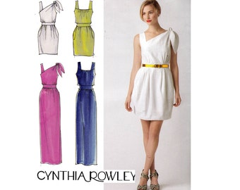 Simplicity 2178 CYNTHIA ROWLEY One shoulder Formal Prom Dress Maxi Size 6 8 10 12 14 Bust 32 34 36 UNCUT Factory Folds