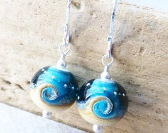Beach Jewelry, Ocean Earrings, Wave Earrings, Lampwork Earrings, Beach Earrings, Gift For Her, Teal Blue, Tan, Gift, Ocean Blue Earrings