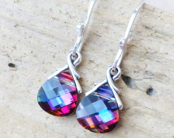 Swarovski Crystal Earrings, Purple, Blue, Red Crystal Earrings, Prism Swarovski Crystals, Sterling Silver Briolette Earrings, Gift for Her