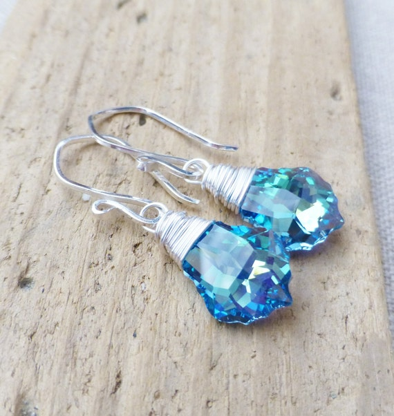 Swarovski Crystal Earrings, Aquamarine Crystal Earrings, Vitrail Prism Blue, Green, Yellow, Sterling Silver Wire Wrapped Earrings, Gift