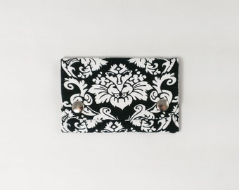 Victorian Wallet Business Card Holder Damask Wallet Black and White Slim Wallet Baroque Accessory Floral Gift Small Card Case