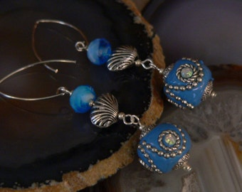 aqua blue earring, beach earring, dangle earring, turquoise earring, sea shell earring, long earring, boho earring, gift for her