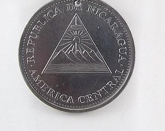 Nicaragua Coin Necklace, 1 Cordoba, Coin Pendant, Leather Cord, Mens Necklace, Womens Necklace, 2002