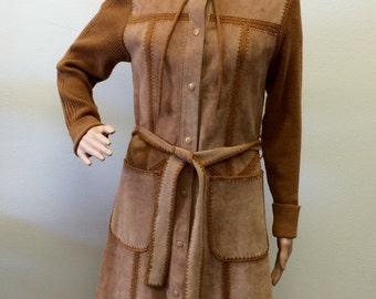 70s Hippie Jacket Suede Tan Hooded S Long Sweater Coat