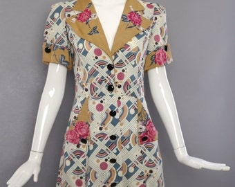 70s FOXY LADY 1970s does 40s Ossie inspired art deco print button down shirt dress psychedelic xs