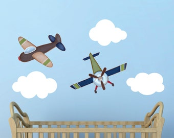 Airplane Wall Decals, Plane Wall Decal, Kids Room Wall Decal, Airplane and clouds wall decal, Kids Room Airplanes