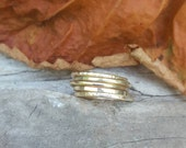 5 Brass Stacking Rings Set of 5. Made to Order. 14k Gold Look. Five hammered Brass Stackers. Rustic Golden Set of thin textured stack rings.