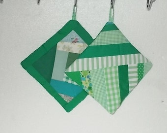 POTHOLDERS (#3) Greens, String, Crazy Quilt Patterns, Old Timey Designs, US. Kitchen Decor, Primative, Lodge, Country. Contemporary Decor