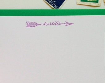 Personalized Stationery Custom Stationary- Name through the Arrow