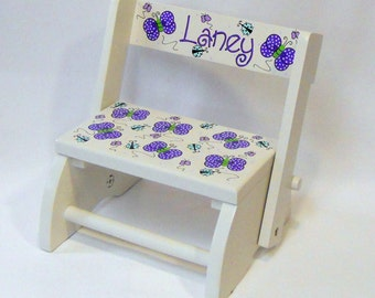 Child's Flip Stool Purple Butterflies and Aqua Ladybugs Personalized