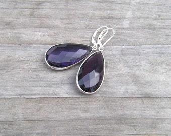 Sterling Silver Bezel Set Amethyst Earrings, February Birthstone Jewelry, Large Purple Dangle Earrings,  Natural African Amethyst Stone