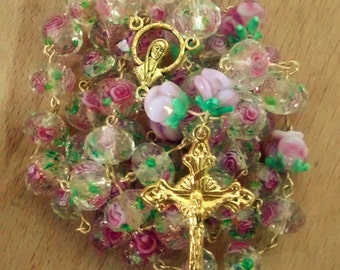 Faceted Champagne Glittered Pink Rose Rosary -Oversized-