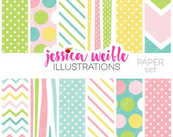 Made to Match: Party Bunting V3 Cute Digital Papers - Commercial Use OK - Pretty Spring Digital Backgrounds for Design, Pastel Baby Papers