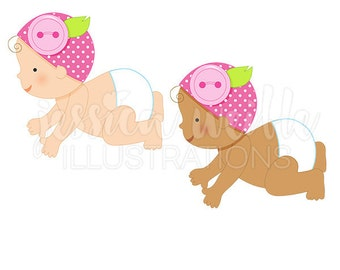 Button Baby Girl Cute Digital Clipart, Diaper Baby Clip art, Baby Graphics, Baby with Button Hat Illustration, #158