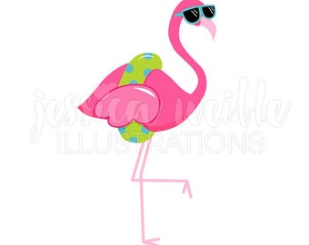Flamingo Swimming Clipart Cute Digital Stamps Instant