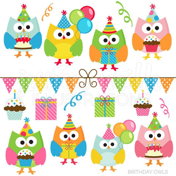 Birthday Owls Cute Digital Clipart, Commercial Use Clip ...