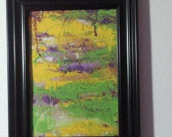 Original Framed ABSTRACT ACRYLIC Art   5 x 7  Peaceful Marsh