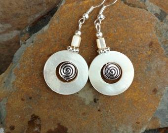 Cream Shell Swirl Earrings, Shell Hoop Sterling Silver Earrings, Cream Circle Shell Silver Earrings, Cream Swirl Shell Hoop Earrings