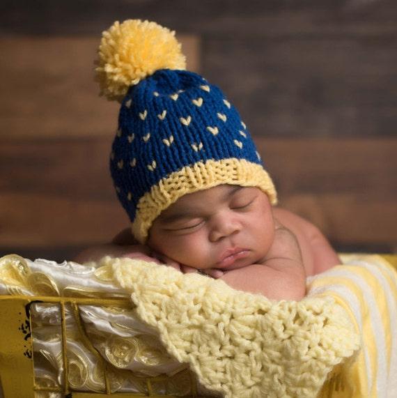 Custom Knit Baby Hat Blue Fair Isle Baby Hat Newborn Baby