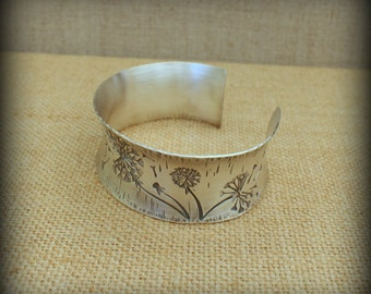 Dandelion cuff bracelet, Argentium cuff bracelet, Believe in yourself