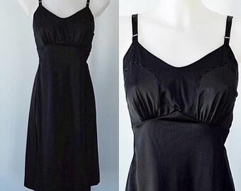 Vintage Black Full Slip, 1980s Black Slip, Dorsay, Black Full Slip, Black Slip, 1980s Slip, Lingerie, Vintage Slip, Slips