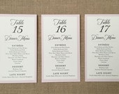 NEW - Tented Wedding Reception Menu & Table Number - The Caroline - Ivory or White 4 x 7 (folded size) - Custom Ink Colors Available