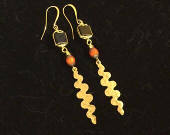 Onyx & Brass Dangle Earrings
