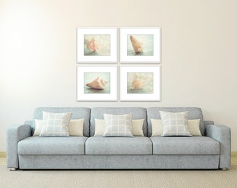 seashell art, set of 4 pictures, coastal prints, nautical decor, seashell prints, ocean decor, beach cottage decor, photography shell set