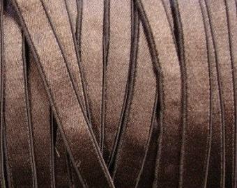 "5 yards 3/8""Chestnut Brown Satin elastic / chestnut brown satin stretch ribbon"