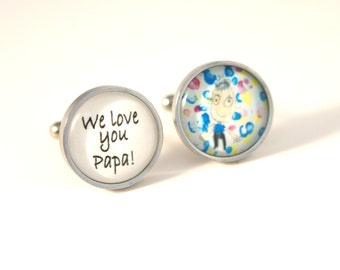 Valentines gift for dad, Birthday gift, dads gift, custom cuff links with children drawing artwork Custom photo gift