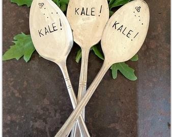 Kale, Plant Marker, Vintage Silverware Spoon, Garden Marker, Vegetable Garden, Greens, Gardener Gift, Spoon Marker, Hand Stamped, Upcycled