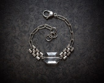 Rectangle Crystal Pillow Bracelet with Vintage Silver Book Chain