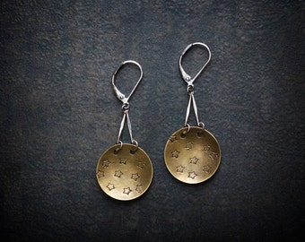 Hand Stamped Brass Star Dome Earrings with Vintage Silver Bar Links