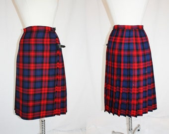 Vintage Wool Kilt Skirt Red Navy Plaid Wool Scotland leather Straps Buckles Wrap Size 12 Vintage Retro 90s Hipster Preppy
