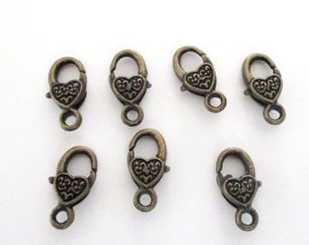 Brass Lobster Clasp - Heart Shaped Lobster Clasp -17mmx9mm - DIY Metal Jewelry Findings - Brass Bronze Lock Clasp  (10) Pcs - Bulk Options