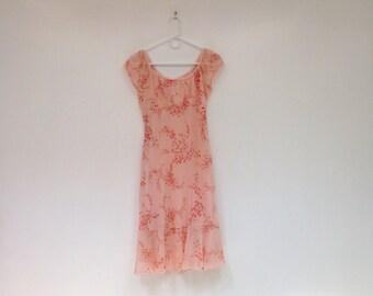 Vintage 1990s Peachy Pink Floral Chiffon Babydoll Dress