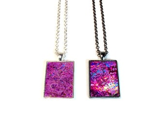 Repurposed Recycled Upcycled Purple Pendant Necklace in Silver or Gunmetal, CD Jewelry