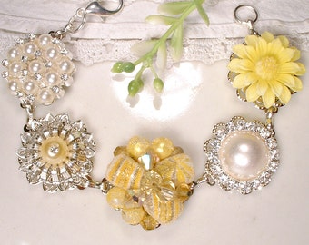 Yellow Crystal, Pearl & Rhinestone Silver Bridal or Bridesmaids Bracelet, OOAK Vintage Cluster Earring Bracelet Wedding Gift Charm Button