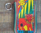 VIntage Mod Leo the Lion Zippered Fabric Pouch Case