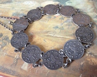 Turkish Ottoman Style Coin Panel Bracelet – 1970s 925 Silver Jewelry