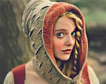"HandiCraftKate Costume Hat. ""Woodland Birch Bark"" Hood. Fantasy Hat. Cosplay Hat. LARP."