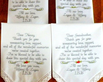 Grandparents Embroidered Wedding Handkerchiefs, Aunt, Uncle, Cousin, Mom, Dad, Wedding Gifts, Personalized Gift in your own words and colors