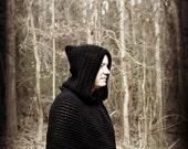 Black Hood Scarf, Archers Hood, Hood Poncho, Women, Men, Fishermans Hood, Black Neckwarmer, Crochet Poncho, Rangers Hood, Costume