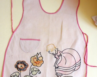 Antique Childs Apron Linen Hand Embroidered 1930s