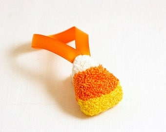 3D Candy Corn Halloween Tree Ornament. Punchneedle. Food Art. Yellow, Orange. Christmas Ornament.