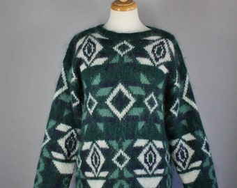 Vintage 90s Women's Tribal Geo Mohair Blend Green White Fall Winter Pullover Sweater