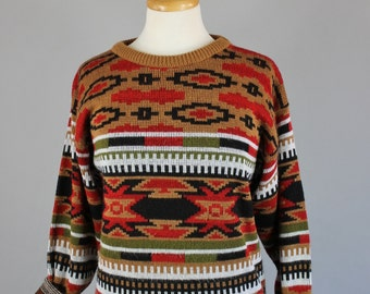 Vintage 80s Women's Brown Red Navajo Tribal Design Fall Winter Southwest Pullover Sweater