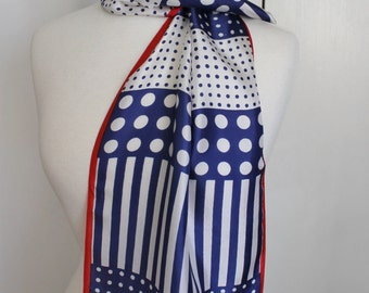 Vintage 60s 70s Women's Navy Red White Patriotic French Flag Fourth of July Satin Long Rectangle Neck Hair Scarf